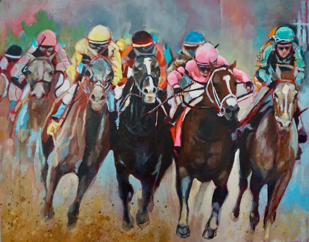 Painting of the racehorse Maximum Security running at the Kentucky Derby