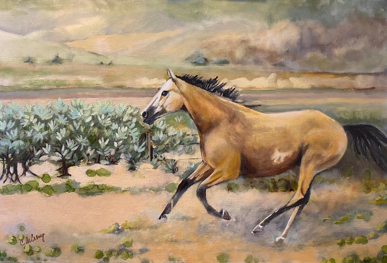 Painting of wild mustang running