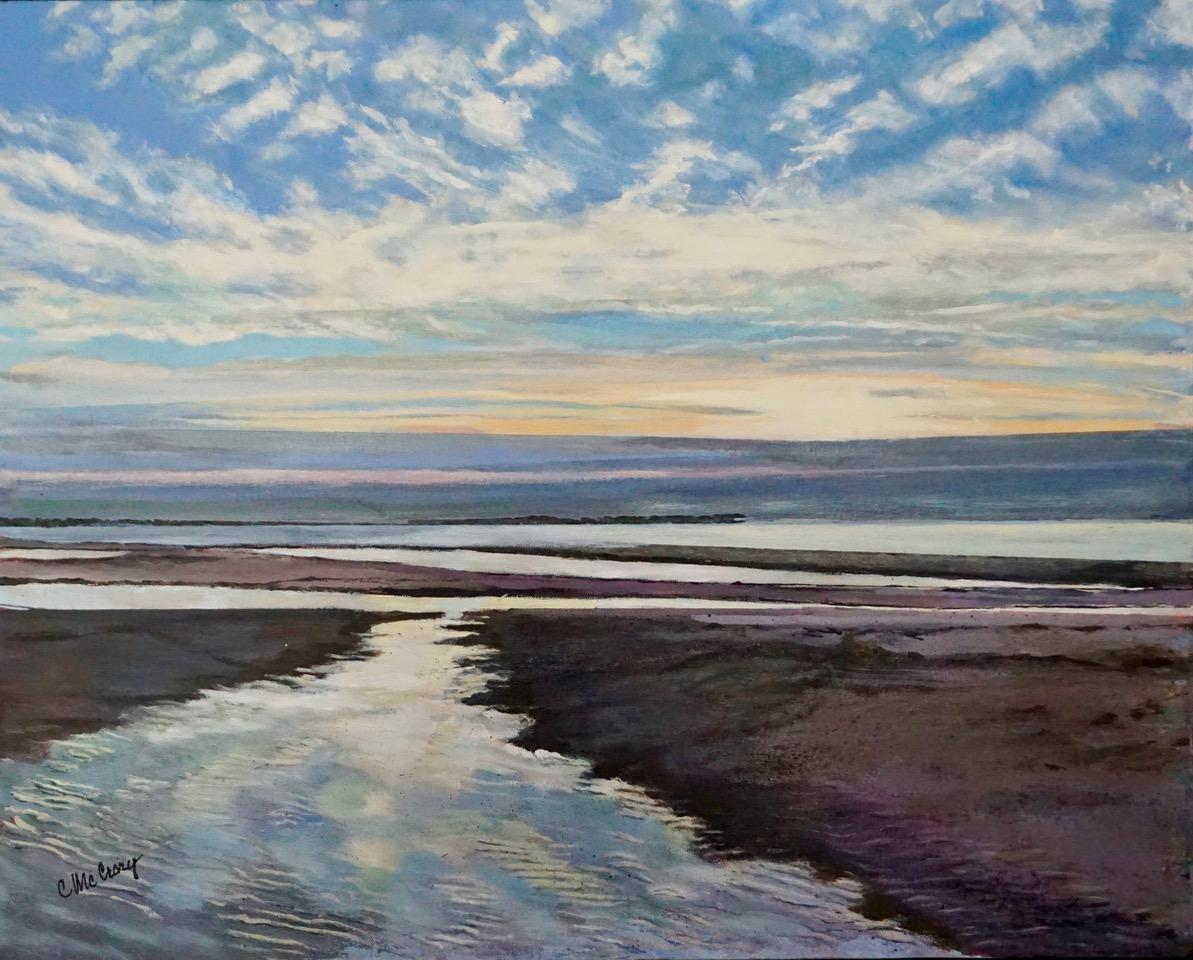 Painting of seashore at sunrise