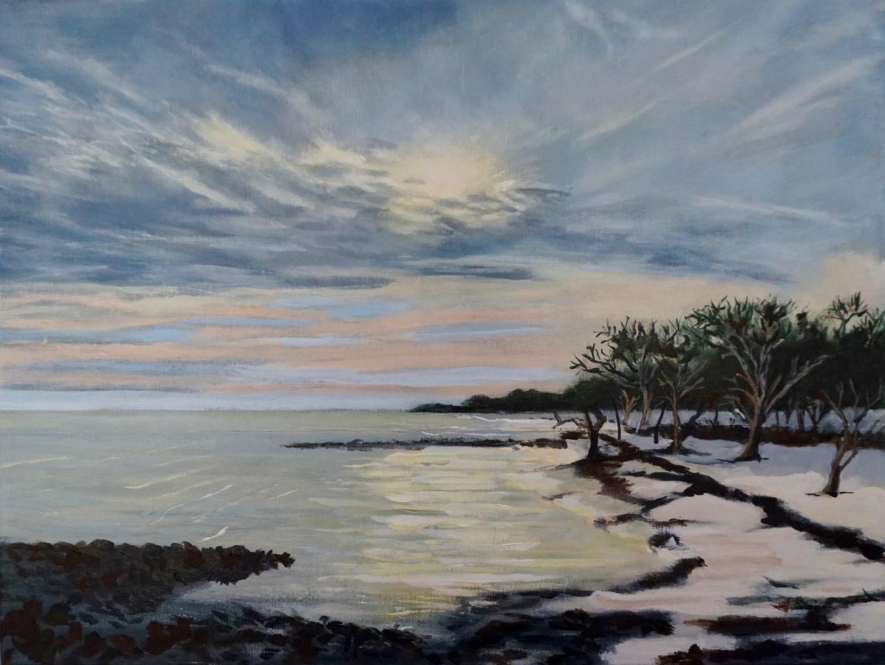 Painting of seashore at twilight