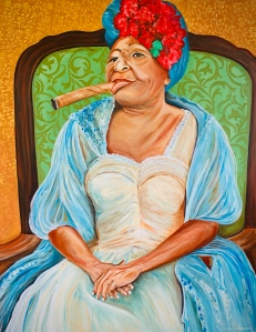Painting of Cuban woman with cigar.
