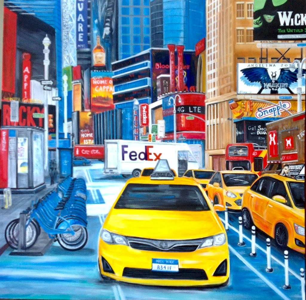 Painting of New York City taxi cabs.
