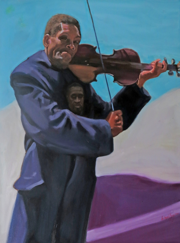 Painting of violinist honoring George Floyd by Joseph Pearson.