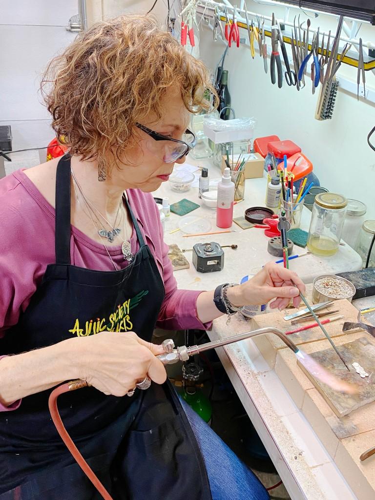 Sascha Frowine at work in her studio.