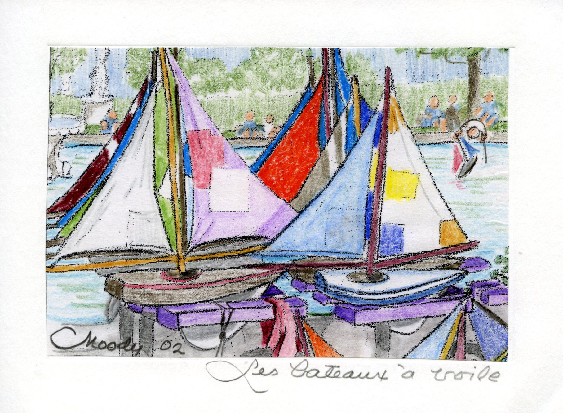 sketch of toy sailboats