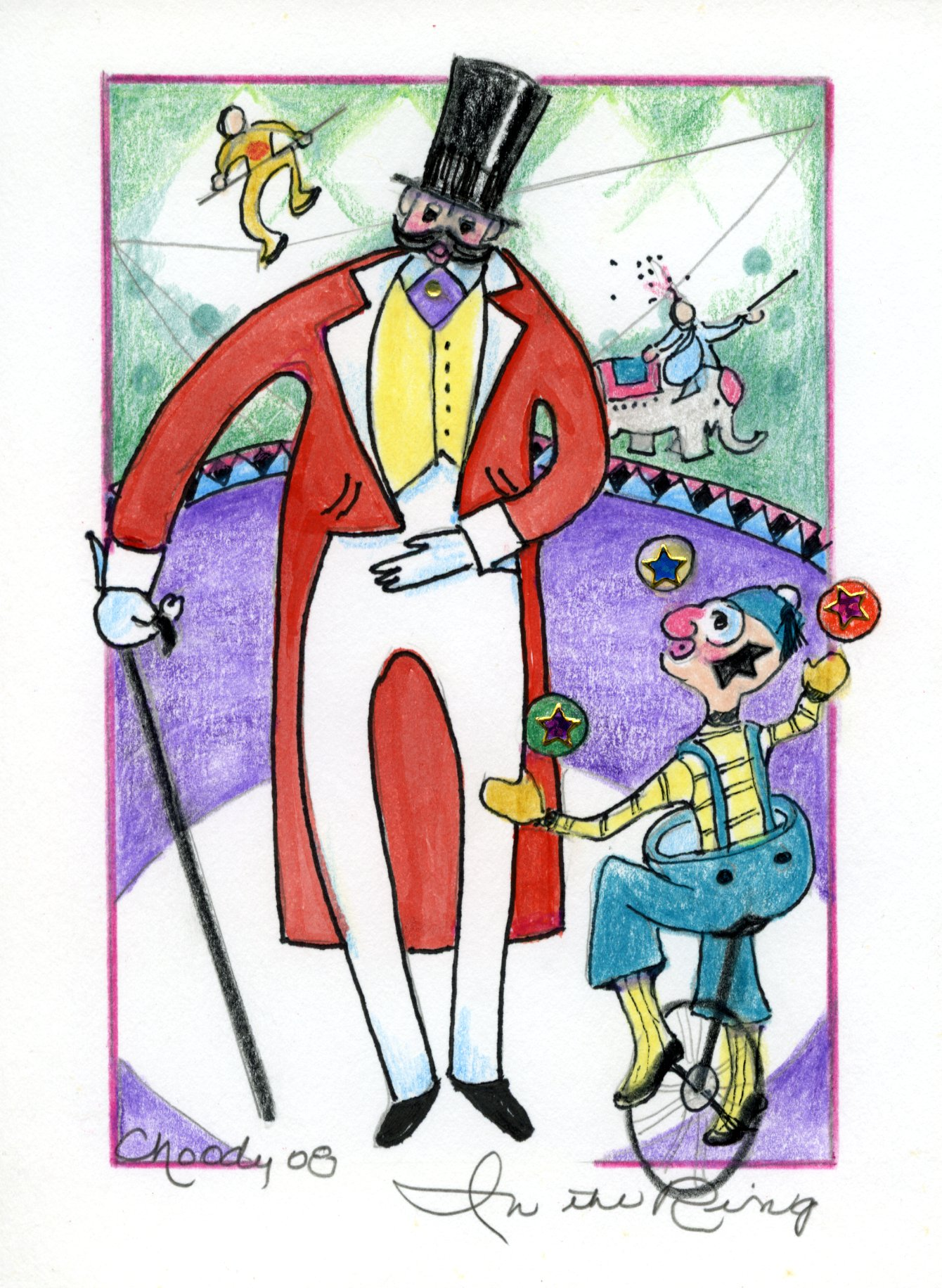 sketch of circus characters